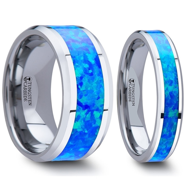 Asterius Blue Green Opal Inlay Tungsten Couple's Matching Wedding Band Set