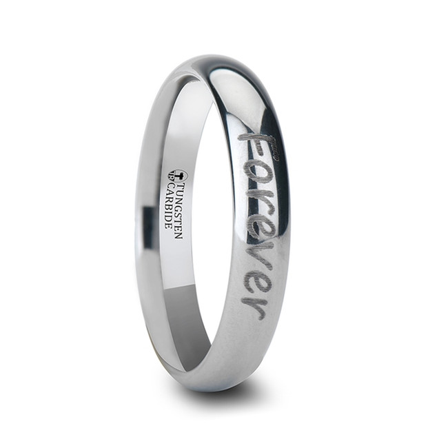 Otrera Handwritten Engraved Domed Tungsten Ring from Vansweden Jewelers