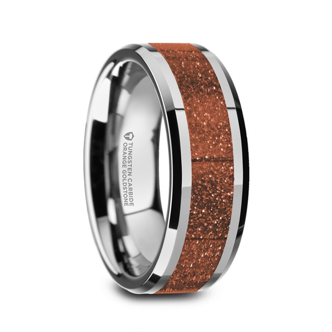 Eurymedon Men's Polished Tungsten Wedding Band with Orange Goldstone Inlay from Vansweden Jewelers