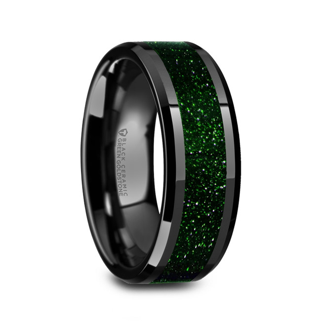 Anax Men's Polished Black Ceramic Wedding Band with Green Goldstone Inlay from Vansweden Jewelers