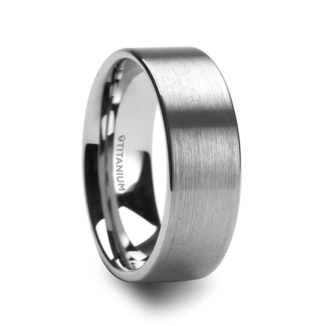 Aphros Flat Profile Brushed Men's Titanium Wedding Band from Vansweden Jewelers