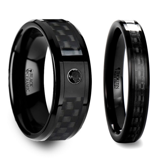 Lethe Black Ceramic Ring with Black Carbon Fiber Inlaid Couple's Matching Wedding Band Set