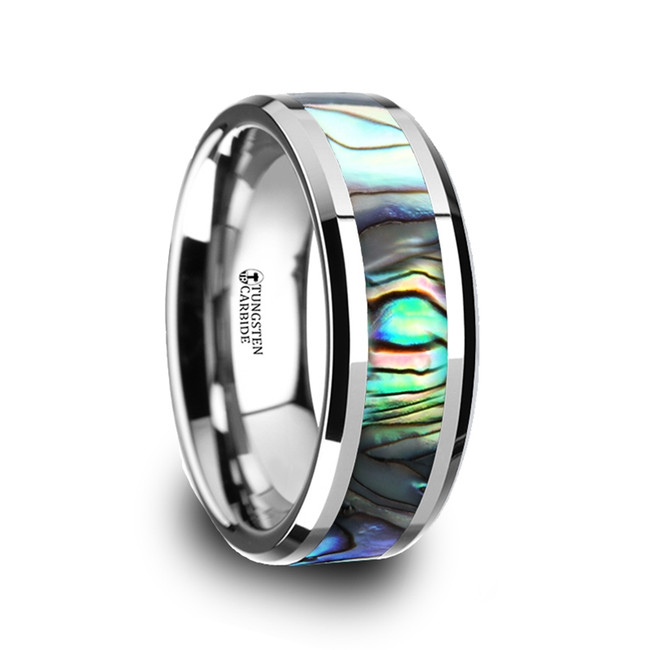Eleos Tungsten Carbide Ring with Mother of Pearl Inlay