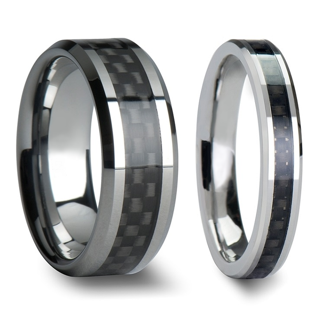 Thalestris Black Carbon Fiber Inlaid Tungsten Carbide Couple's Matching Wedding Band Set