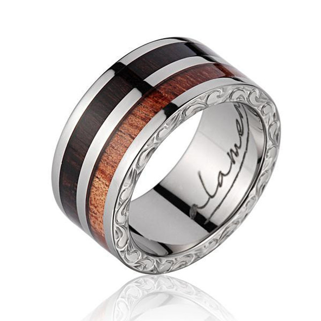 Macassar Ebony & Koa Wood Inlaid Men's Wedding Band with Titanium Scroll by Jewelry Hawaii
