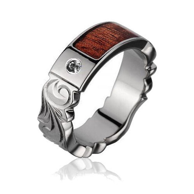 Men's Diamond Titanium Wedding Band with Koa Wood Inlay by Jewelry Hawaii