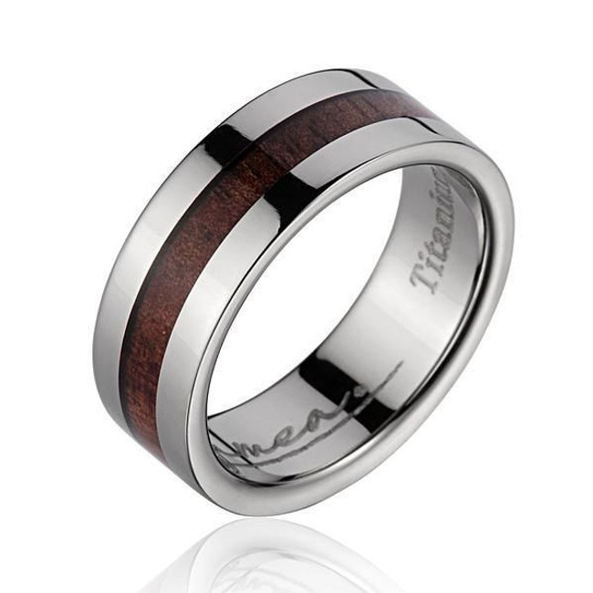 Flat Men's Titanium Wedding Band with Hawaiian Koa Wood Inlay by Jewelry Hawaii