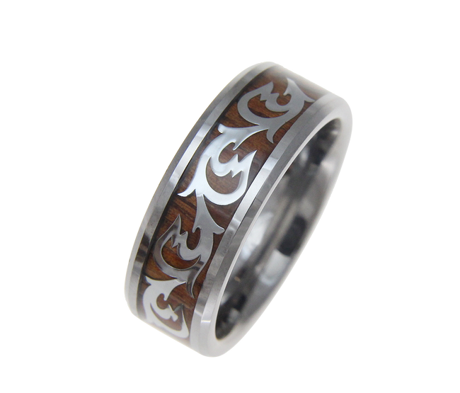 Koa Wood Inlaid Men's Tungsten Band with Shiny Scroll Pattern by Jewelry Hawaii