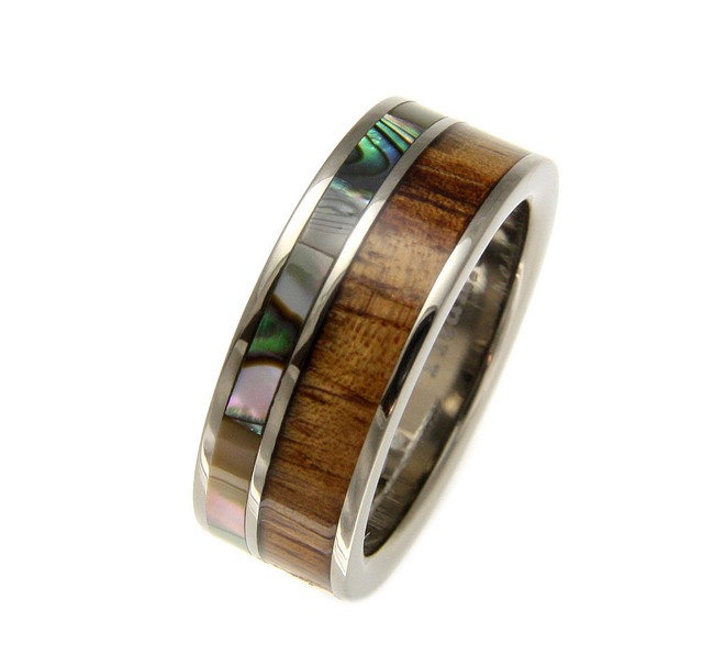 Men's Titanium Wedding Band with Hawaiian Koa Wood Inlay & Abalone Shell by Jewelry Hawaii