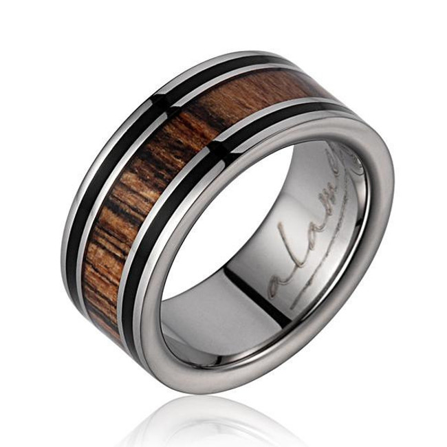 Men's Titanium Wedding Band with Ebony Gabon & Bocote Wood Inlay by Jewelry Hawaii