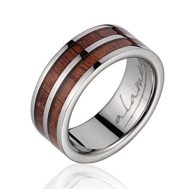 Hawaiian Koa Wood Inlaid Men's Titanium Wedding Ring by Jewelry Hawaii