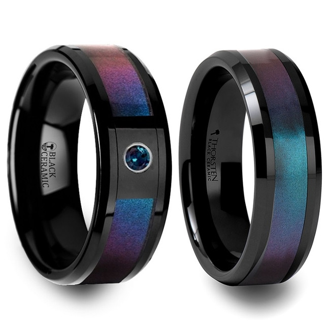 Ichnaea Blue & Purple Color Changing Inlaid Black Ceramic Couple's Matching Wedding Band Set