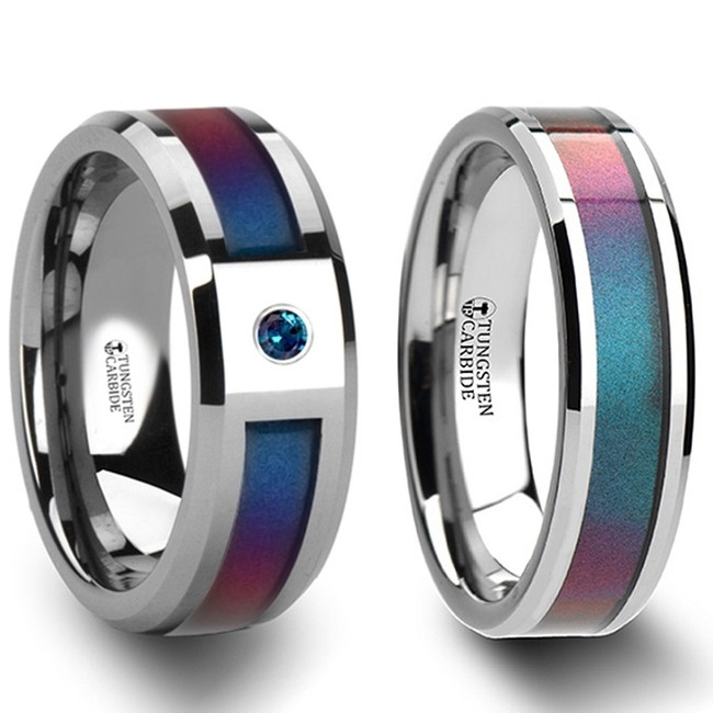 Aoide Blue & Purple Color Changing Inlaid Tungsten Couple's Matching Wedding Band Set from Vansweden Jewelers