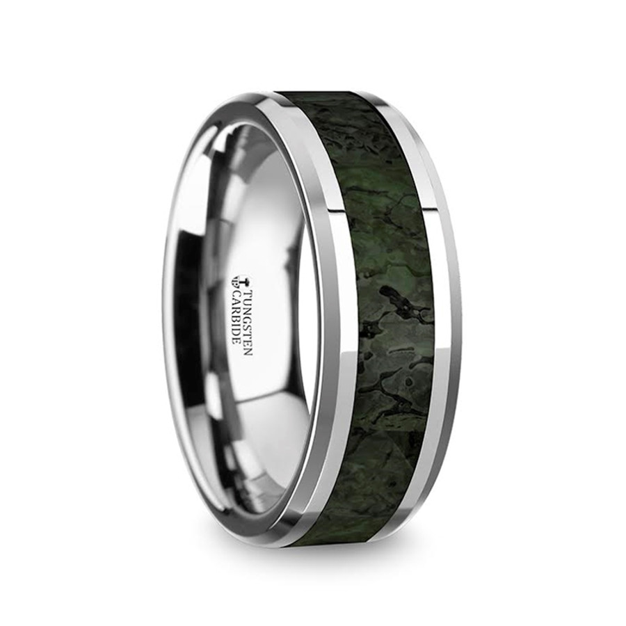beveled dinosaur the with tungsten stheneboea s mens from green rings men wedding dark bone band inlay edges
