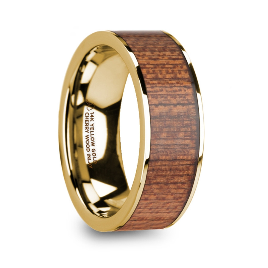 The Areithous Cherry Wood Inlaid Polished 14k Yellow Gold Menu0027s Flat Wedding  Ring From Vansweden Jewelers