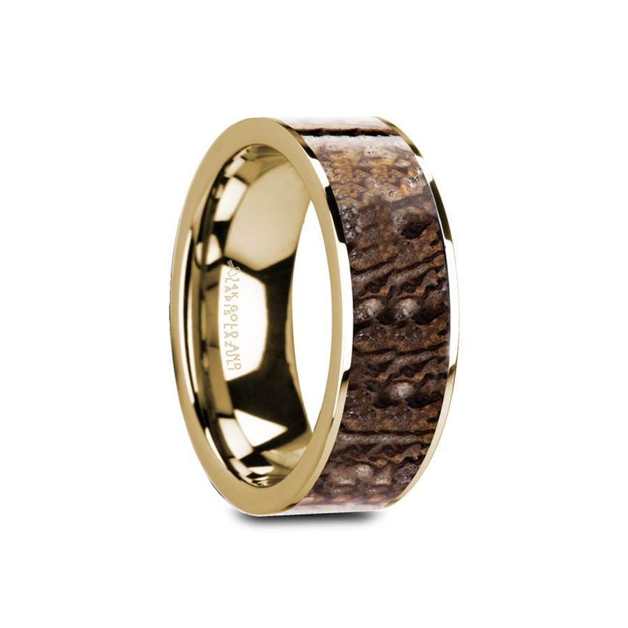 Perileos Flat Polished 14K Yellow Gold Ring with Brown Dinosaur Bone Inlay and Polished Edges from Vansweden Jewelers