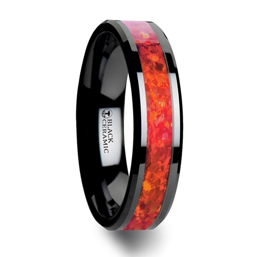 Tyro Black Ceramic Wedding Band with Beveled Edges and Red Opal Inlay from Vansweden Jewelers