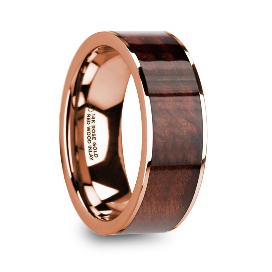 Gaia Polished 14k Rose Gold Mens Wedding Band with Red Wood Inlay