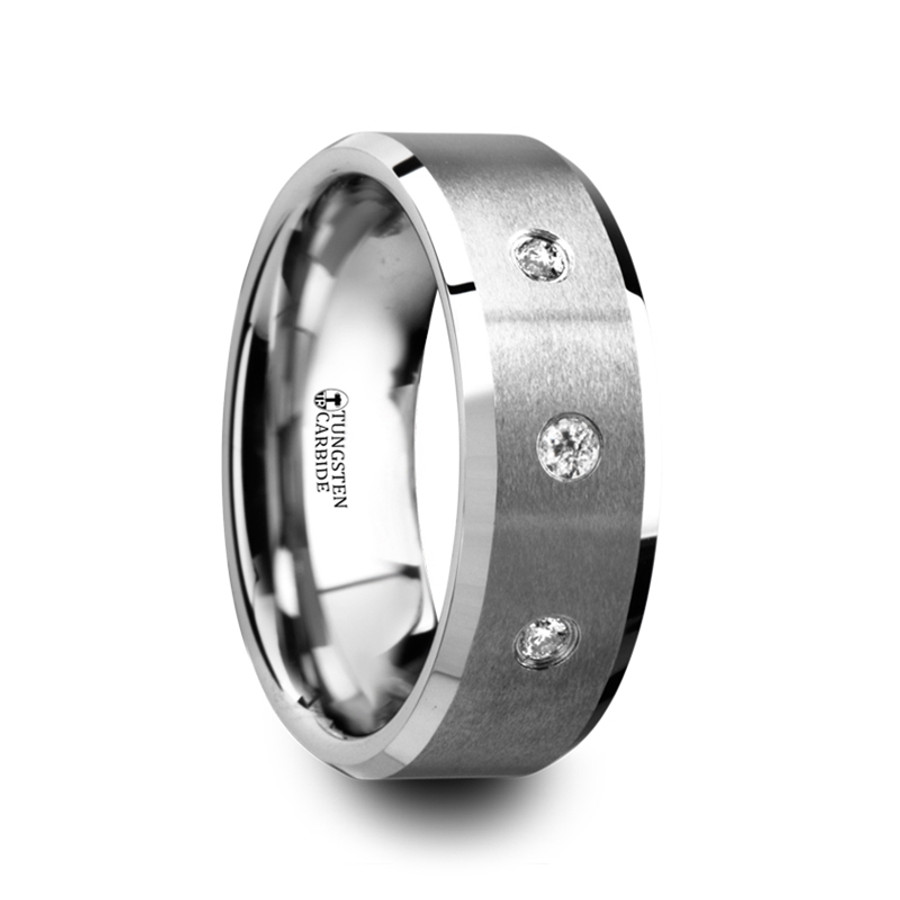Phanes Satin Finish Tungsten Carbide Wedding Ring With 3 White Diamonds And  Beveled Edges From Vansweden