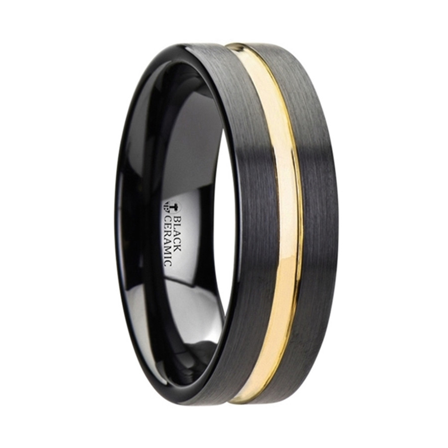 Alala Black Ceramic Wedding Band With Yellow Gold Groove from Vansweden Jewelers
