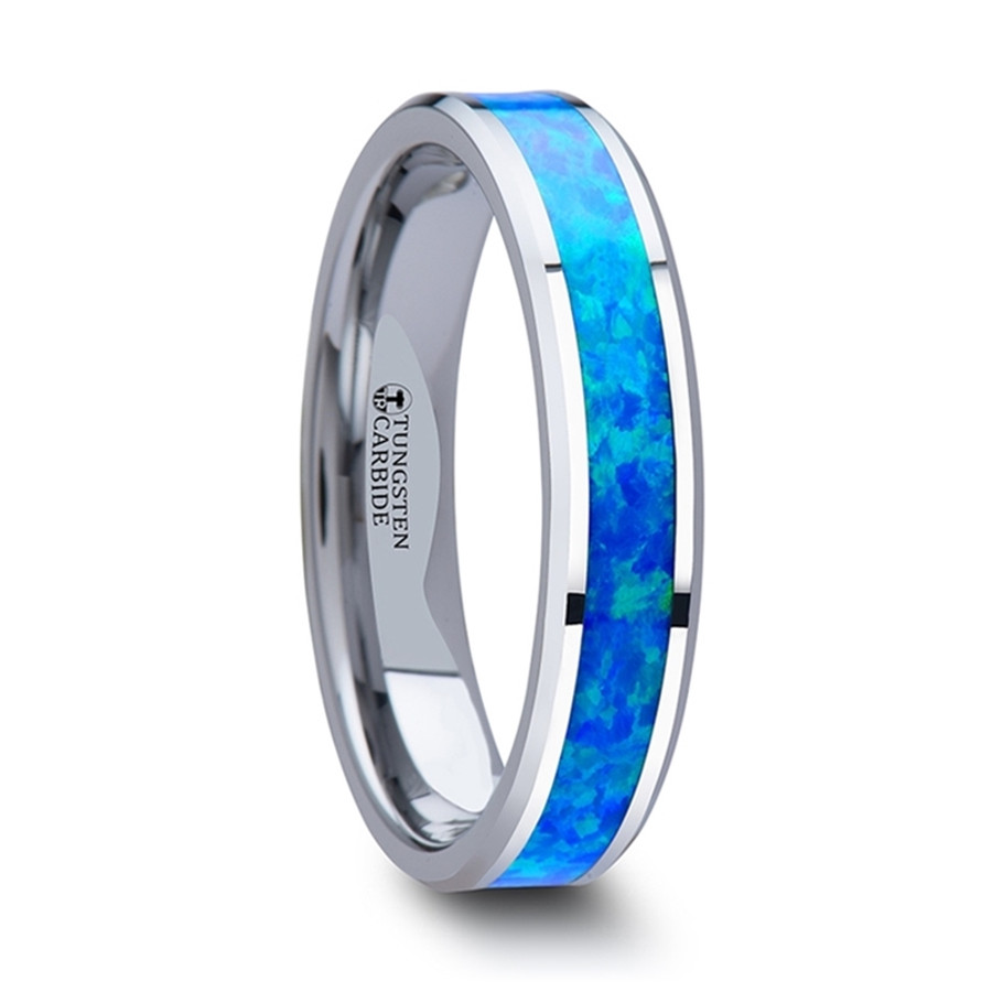 Castor Tungsten Wedding Band with Blue Green Opal Inlay