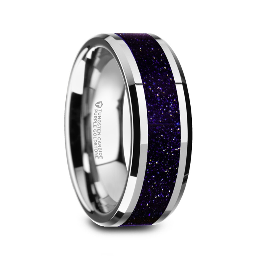 Gyges Polished Menu0027s Tungsten Carbide Wedding Ring With Purple Goldstone  Inlay
