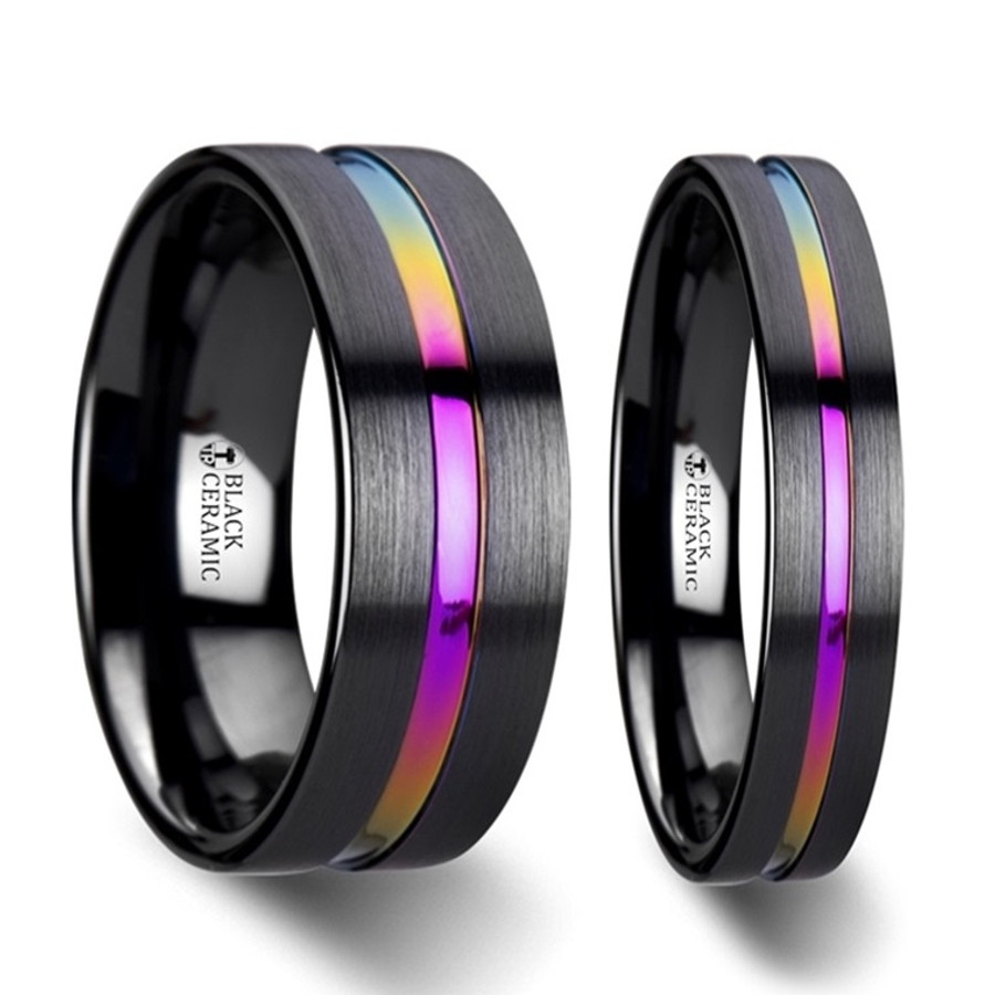 Danaides Rainbow Grooved Brushed Black Ceramic Couples Matching