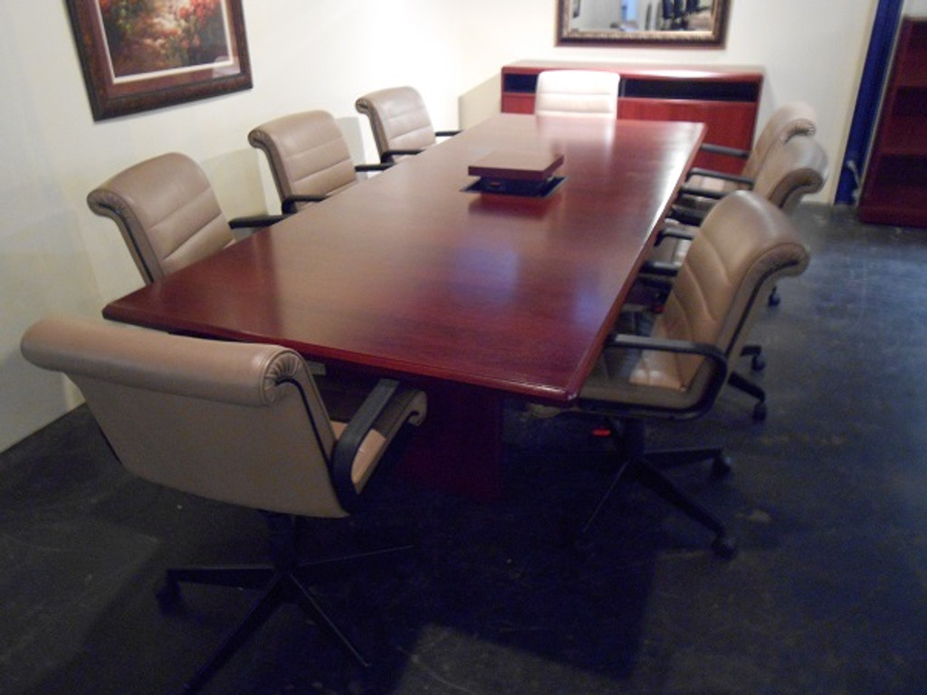 Knoll Cherrywood Conference Table With Pop Up Electric With - Conference table with storage