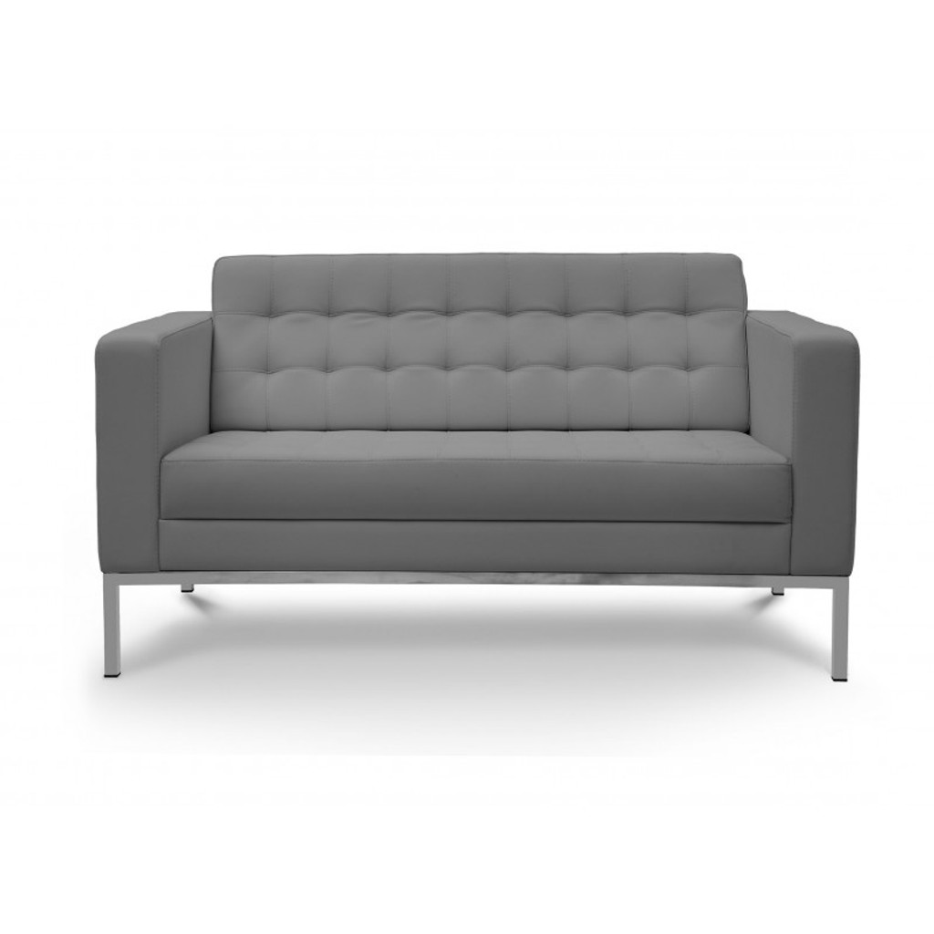Piazza Grey Leather Love Seat