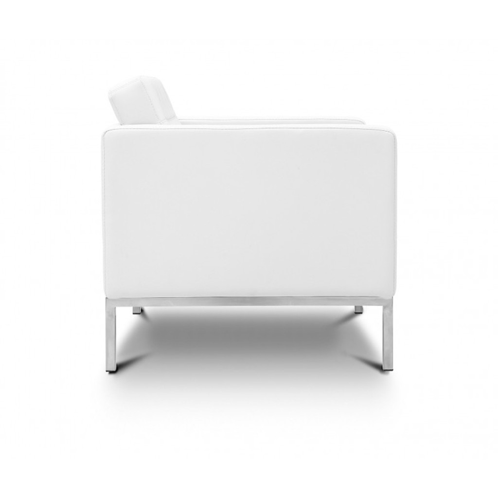 Piazza White Leather Lounge Chair