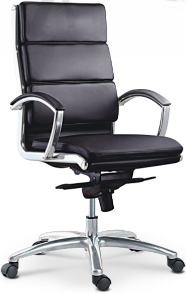 ... High Back Chair. Black Leather (B)