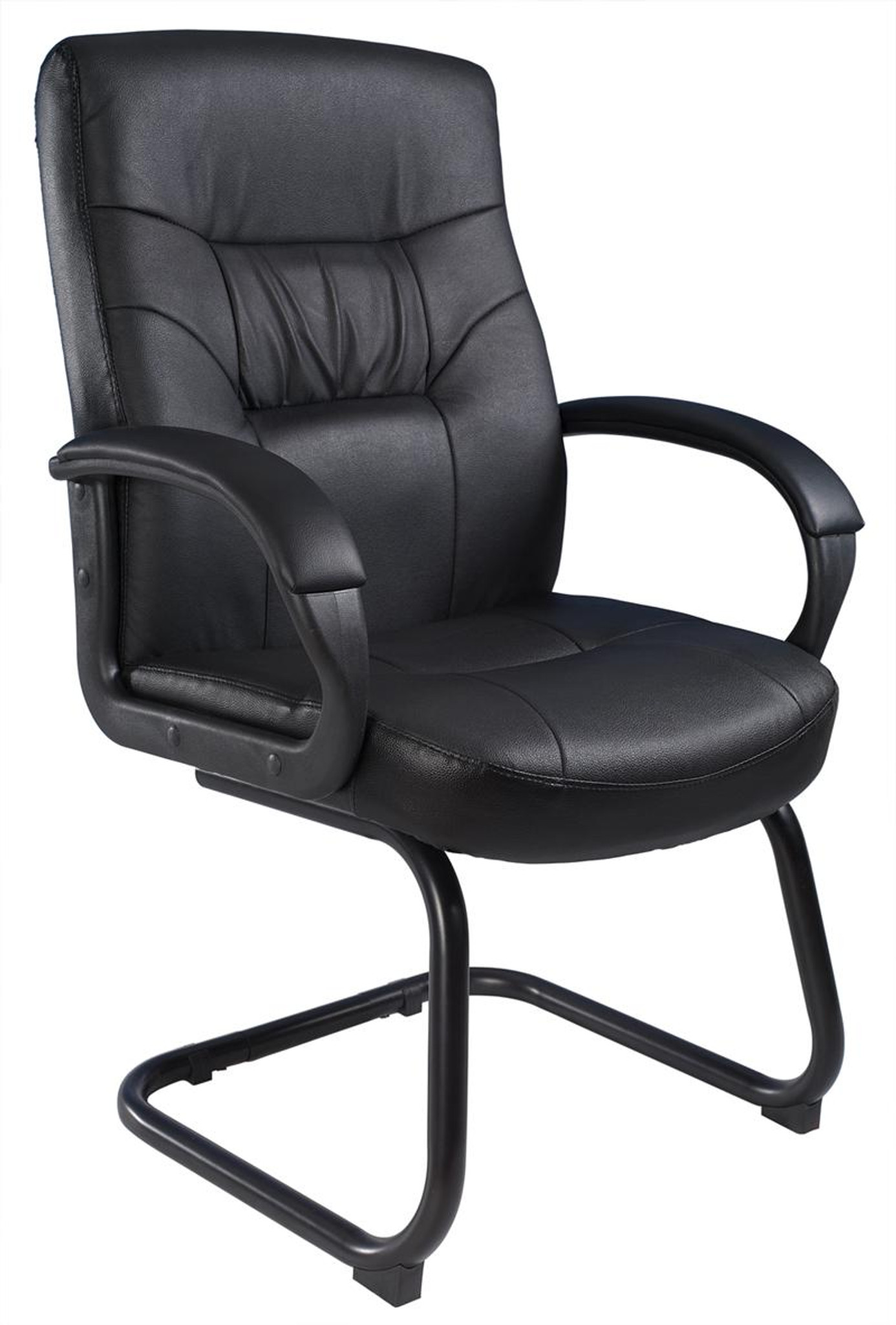 boss chairs b7506 black leather plus guest chair with sled base