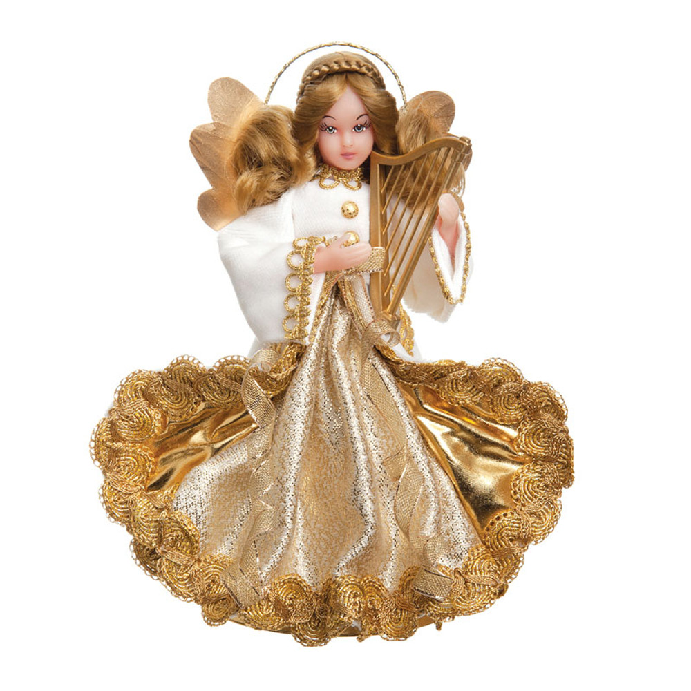 White Velvet Wax Angel with Harp