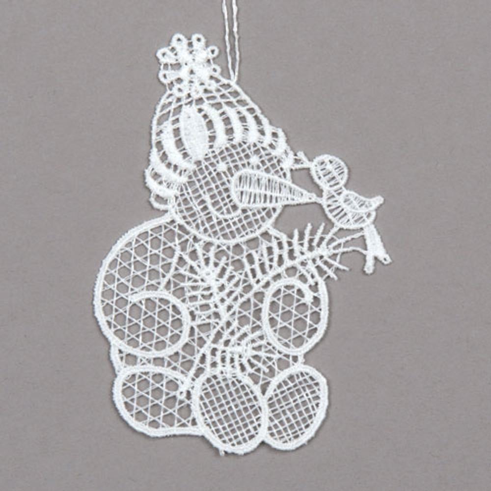 Snowman with Bird Linen Ornament