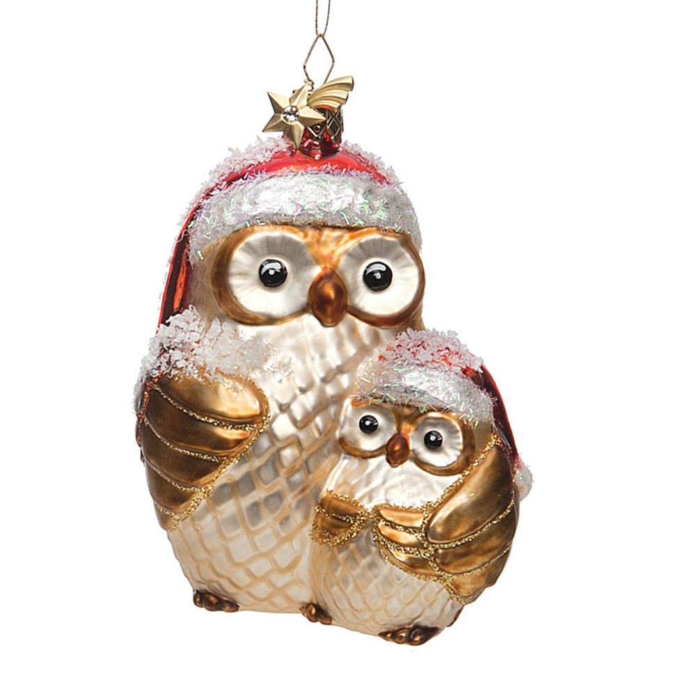 Mother and Child Owl Glass Ornament