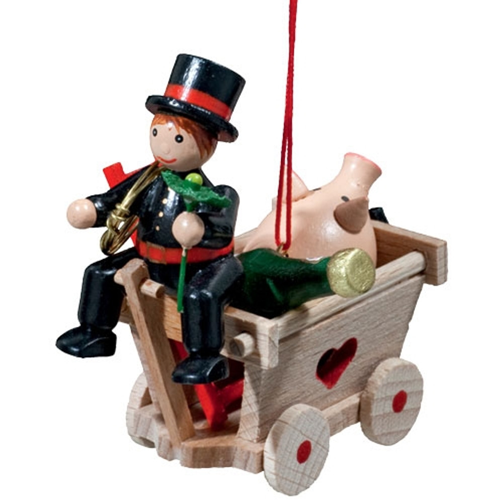 Cart with Chimney Sweep Wood Ornament