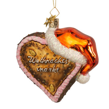 Gingerbread Heart with Santa Hat