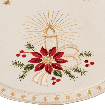 Ivory Poinsettia with Dots - Round 9""