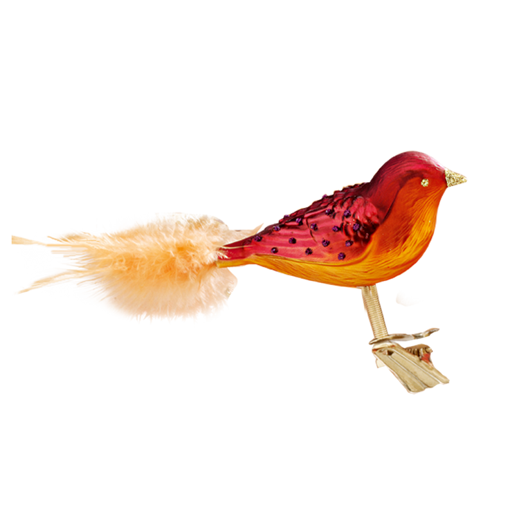 Red Glass Bird with Yellow Tail
