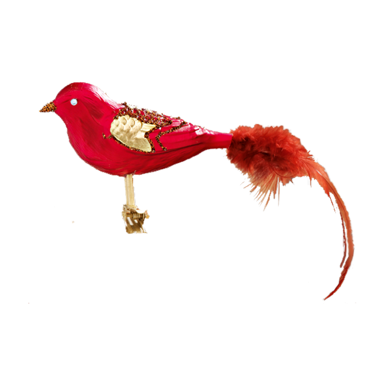 Red Glass Bird with Gold