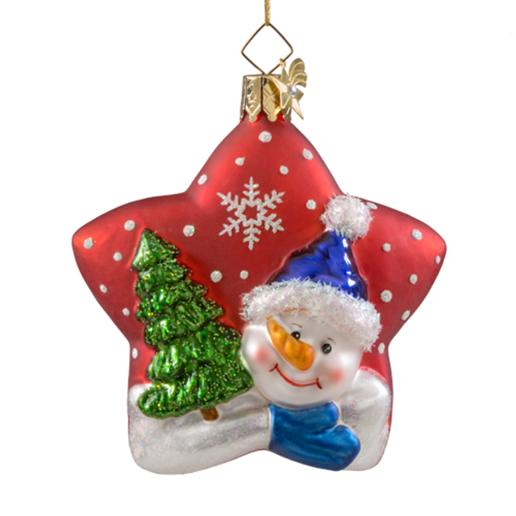 Snowman on a Red Star Glass Ornament
