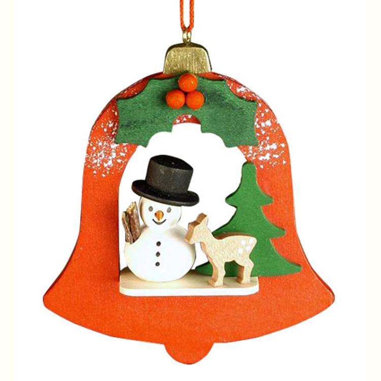 Snowman in a Orange Bell