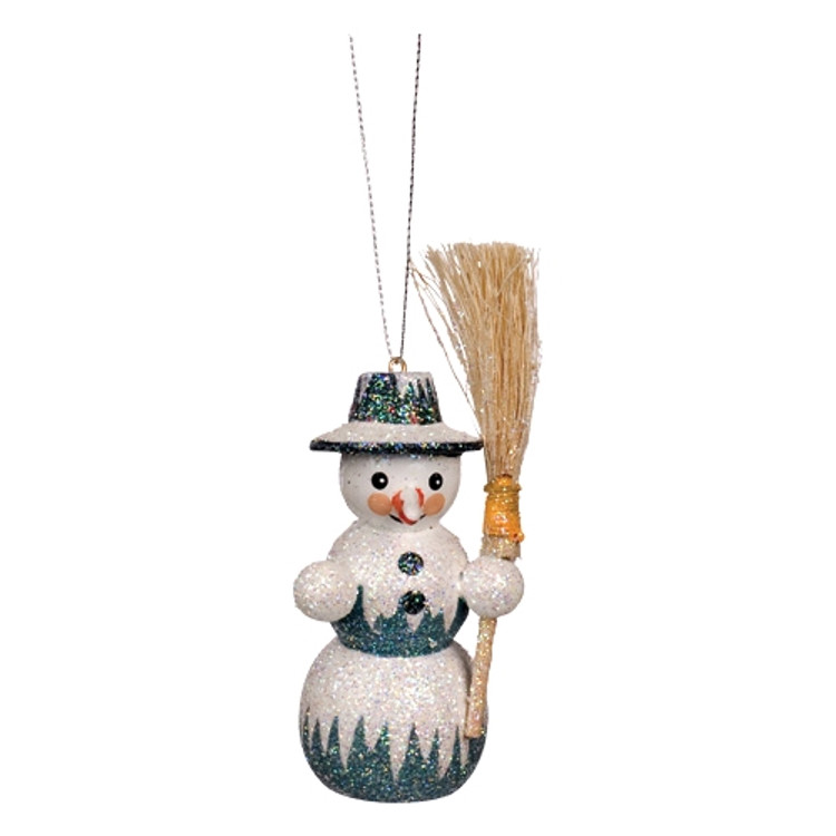 Frosty Round Snowman with Broom