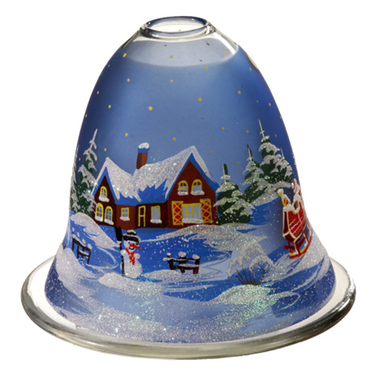 Winter Scene Glass Tealight Candleholder