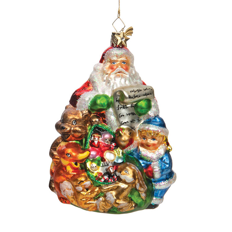 Santa Handing out Gifts to Children Glass Ornament