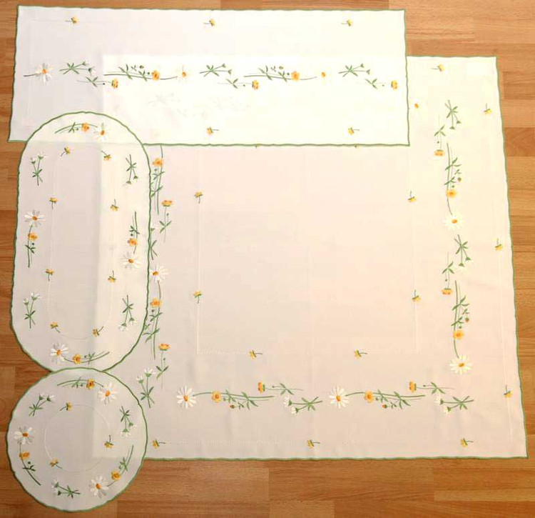 "White and Yellow Spring Flowers 33 1/2"" X 33 1/2"""