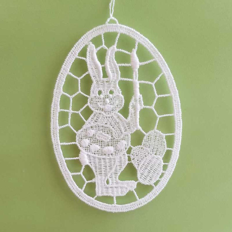 Painting Bunny in Lace Oval Linen Ornament