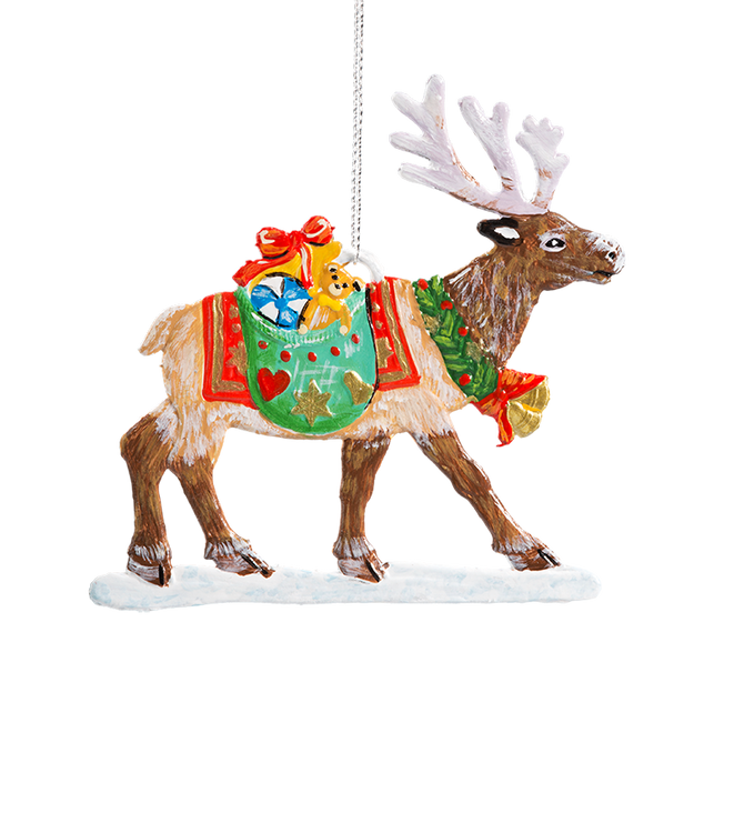 Reindeer Carring Gifts Pewter Ornament