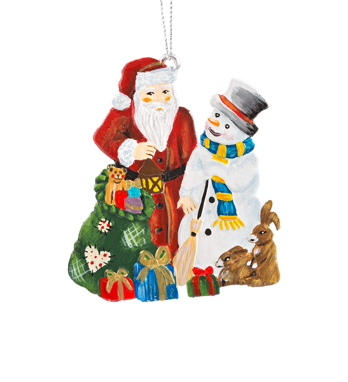 Santa and Snowman with Forest Animals