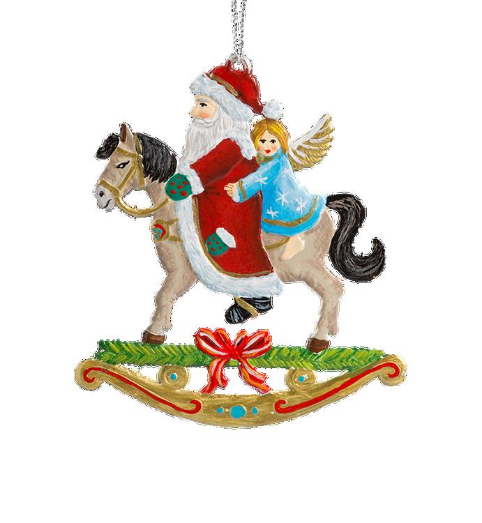 Santa and Angel on Rocking Horse